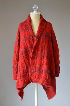 "K. Cardinal Cardigan (Open), ""Shifting Horseshoes"" free knitting pattern thanks to Universal Yarns, up to 3X."