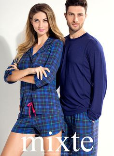 MIXTE PIJAMAS • Fall - Winter 2016 Couple Outfits, Family Outfits, Night Suit For Women, Cute Couple Shirts, Lingerie Gown, Mens Sleepwear, Cute Pajamas, Matching Outfits, Pyjamas