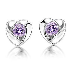 Silver Zircon Earrings With Purple Austria Crystals. Only at www.pandadeals.co.uk