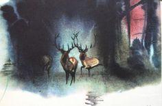 Bambi - A Life in the Woods illustrated by Mirko Hanak #illustration #vintage #mirkohanak #bambi