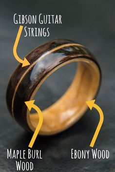 Handcrafted mens bentwood wedding ring. This wooden ring is made with maple burl and ebony wood. It's inlaid with genuine gibson guitar strings