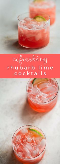 Easy, pretty pink cocktails with gin, lime and homemade rhubarb syrup! A tequila drink recipe for rhubarb cocktail, infused with the gorgeous color of sweet-tart rhubarb, blended with herbal notes of vermouth. Negroni Cocktail, Cocktail Syrups, Cocktail Recipes, Rosa Cocktails, Gin Recipes, Rhubarb Recipes, Rhubarb Ideas, Orange Recipes, Margaritas