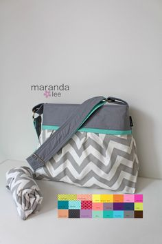 Chevron Diaper Bag Set with Changing Mat-Stella Medium - New Grey Chevron with Grey and Mint - Baby Gear Adjustable Strap Attach to Stroller by marandalee on Etsy https://www.etsy.com/listing/195264608/chevron-diaper-bag-set-with-changing-mat
