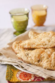 CHEDDAR AND GREEN CHILE SCONES - Muy Bueno Cookbook  These savory, spicy, cheesy, and buttery-rich scones are a great addition to your breakfast or brunch table especially if you have company visiting.  The chile I used for this recipe is a combination of hot and dynamite from Pueblo, so you can imagine these scones were not made for children.  Scones are a no-brainer for breakfast. Attractively packed, they make a great hostess gift as well.