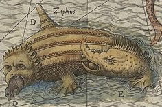 Hand colored image from 1572 from the Carta Marina in the map collection of the National Library of Sweden