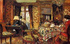 Dans la salle, huile sur panneau de Edouard Vuillard (1868-1940, France)
