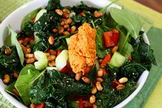 Spinach and kale salad, from Kath Eats Real Food.