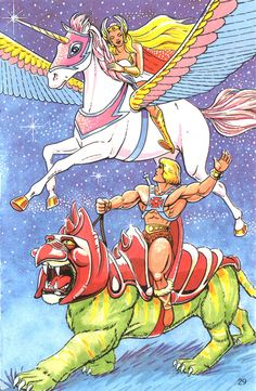 She-ra rides Swift Wind while He-man travels with Battle Cat.