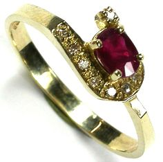 RUBY 14K  YELLOW GOLD   RING    SIZE 6 1/2     GTJA218  NATURAL RUBY GEMSTONE RING  FROM  GEM TRADERS ,GEMROCKAUCTIONS