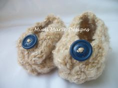 Baby Booties with Buttons by mimimariedesigns on Etsy, $12.00. Sooooooo cute!