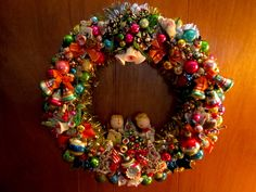 Wreath made using vintage corsages. April