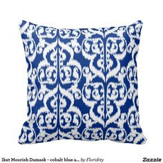 Ikat Moorish Damask - cobalt blue and white Pillows