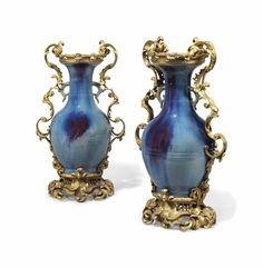 A pair of French ormolu-mounted Chinese flambe-glazed baluster vases circa 1870, probably by Henri Picard for Maison Beurdeley, Paris