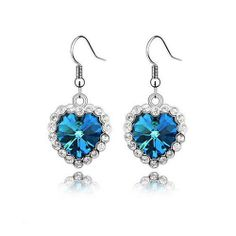 Contessa Bella Fancy Genuine 18k White Gold Plated Bermuda Blue and Clear Swarovski Austrian Crystal Elements Beautiful Framed Heart of the Ocean Titanic Dangle Pierced Women Earrings Elegant Silver Color Crystal Fashion Jewelry Contessa Bella Earrings. $22.99. Color: Bermuda Blue, Clear. Style: Women's Wire Hook Dangle Earrings. Material: 18k White Gold Plating, Austrian Crystal Elements. Dimensions (Size): Approx 1 1/4 Inch L x 1/2 Inch W. Comes with Lovely Velvet Pou...