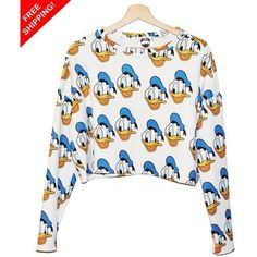 donald duck sweater ❤ liked on Polyvore featuring tops, sweaters, white sweater and white top