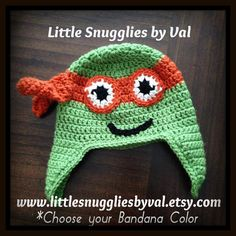 SALE LSBV Ninja Turtle Hat. Customize your by LittleSnuggliesbyVal, $24.95