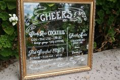 Create wonderful imagery by in-cooperating mirrors. nice! Mirrored wedding bar sign