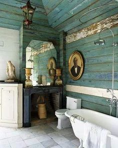I love the weathered clapboard interior of this bathroom. The textured and weathered blues, the stone tiles, the vintage and architectural elements – all mixed with clean, white porcelain. Image courtesy of House of Turquoise. Rustic Bathroom Wall Decor, Rustic Bathrooms, Rustic Decor, Wood Bathroom, Rustic Walls, Bathroom Interior, Modern Bathroom, Coastal Decor, Master Bathroom