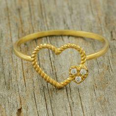 Heart diamonds ring 14k solid gold ring black by KyklosJewelryLab