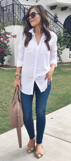 Trendy How To Wear White Jeans Spring Flats Ideas Summer Dress Outfits, Spring Outfits, Casual Outfits, Fashion Outfits, Womens Fashion, Work Outfits, White Jeans Outfit Summer, Trendy Fashion, Mode Chic