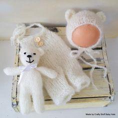Baby Dungaree Bear Stuffie Set. Newborn romper. Stuffie Prop. Baby Romper. Newborn bonnet set, bear bonnet ,Newborn dungaree. Onesie by CraftyStuffBabyHats on Etsy