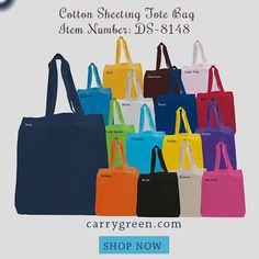 """Cotton Sheeting Tote Bag Item Number: DS-8148• 6 oz. Cotton Sheeting Tote Bag • Cotton Handles • Dimensions: 15""""W x 16""""H x 3""""Gusset #holidaygiftideas #holidaygiftbags #multicolorholidaygiftbags #reusableholidaygiftbags #economicalholidaygiftbags #cheapgiftbags #cottongiftbags #canvasgiftbags #holidaygifttotes #gifttotes"""