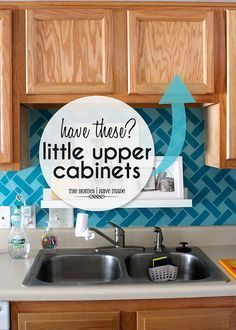 Not sure how to use those little upper cabinets in your kitchen? Check out these smart and EASY ideas for making the most of these awkward cabinets.