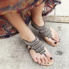 Summer sandalias mujer Women Sandals Bohemia Flower Shoes Beach Sandalias Femininas Casual Thong Flats sapato feminino Black