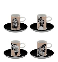 Vista Alegre   A Viagem - Set 4 Coffe Cups & Saucers Painters