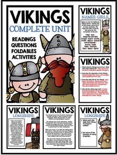 Vikings: Complete Unit with Informational Text, Comprehension Questions, Answer Keys, Foldables, and Activities!!!