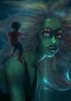 Gorgeous Steven Universe art.  Steven and Malachite.