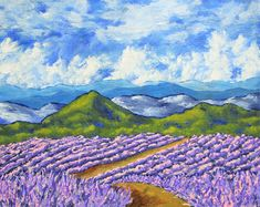 """Lavender In Provence (ORIGINAL ACRYLIC PAINTING) 8"""" x 10"""" by Mike Kraus - art flowers france french summer clouds sky mountains beautiful"""