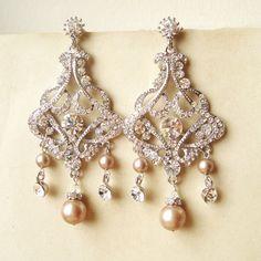 Champagne Pearl Chandelier Bridal Earrings, Vintage Style Statement Wedding Earrings, Champagne Pearls Chandelier Earrings, ALESSANDRA