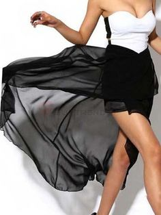 Strapless Patchwork Off Shoulder High-Low Black And White Women Summer Maxi Dress on buytrends.com