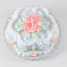 Blue Flower Cake w/White Hearts and Pink Roses   Stewart Dollhouse Creations
