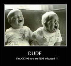 Dude, I'm JOKING you are NOT adopted! haha  Told my sister this one time and got the same reaction. lol
