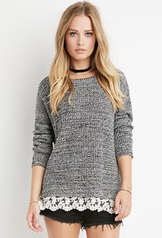 Scalloped Lace-Hem Sweater   Forever 21 - 2000140676