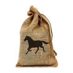 """Amazon.com: Horse, Customized 6"""" X 10"""" Burlap Party Favor Bag with Drawstring - Set of 10: Toys & Games"""
