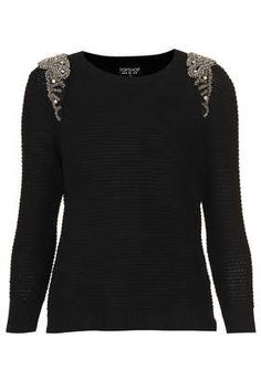 Knitted Crystal Shoulder Sweat. Jewelry on sweaters are defiantly in this season. Add some bling with a broach or make it a DIY project!