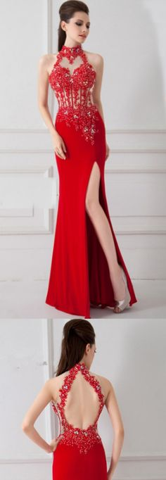 Trumpet Prom Dresses, Red Prom Dresses, Long Prom Dresses With Split-front Sleeveless Split, Long Prom Dresses, Long Red dresses, High Neck dresses, Red Long dresses, High Neck Prom Dresses, Long Red Prom Dresses, Prom Dresses Long, Prom Dresses Red, Red Long Prom Dresses, Trumpet Prom Dresses, Prom Long Dresses