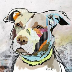 "Pit Bull II Dog Art Title: Pit Bull II #041505 Size: 10"" x 10"" (available in larger sizes up to 50"" x 50"") Medium: Fine art giclee print on gallery wrapped canvas If you are interested in commissionin"