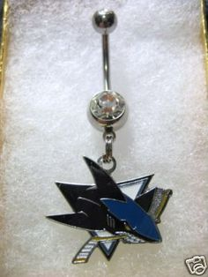 San Jose Sharks belly button ring