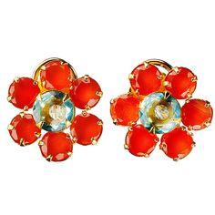 Carnelian Flower Stud Earrings