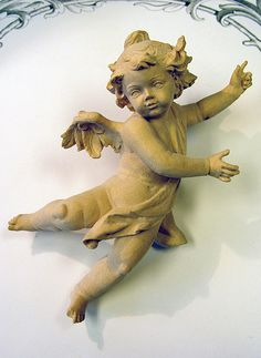 German carved wooden angel