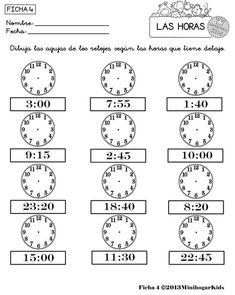 FICHAS 1, 2, 3, 4 y 5 DE EJERCICIOS donde el niño(a) debe de dibujar las agujas de los 12 relojes que contienen cada un... Teaching Time, Help Teaching, Teaching Spanish, Teaching Tools, School Worksheets, Worksheets For Kids, Clock Games, Simple Math, Kids Learning Activities