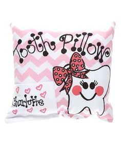 Pink Chevron Personalized Tooth Pillow