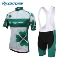 38.89$  Watch now - http://ai49j.worlditems.win/all/product.php?id=32749418535 - XINTOWN Women Cycling Jersey Four-leaved Clover 2017 Short Sleeve Bike Clothing Breathable Sports Bicycle Clothes Green