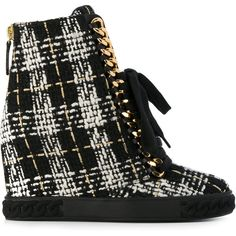 Casadei tweed wedge sneakers ($740) ❤ liked on Polyvore featuring shoes, sneakers, black, lace up wedge sneakers, wedge sneakers, sports shoes, wedge trainers and laced up shoes