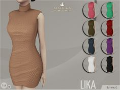 Madlen Lika Dress New knitted dress for your sim! Come in 9 colours (wool texture). Joints are perfectly assigned. All LODs are replaced with new ones. You cannot change the mesh, but feel free to recolour it as long as you add original link in the...
