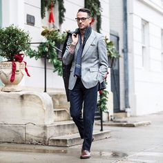 Click the photo to shop the look | Brian of He Spoke Style wearing a grey plaid sport coat, Warby Parker glasses, and J.Crew navy pants |  Follow @liketoknowit on Pinterest for more outfit inspiration #liketkit